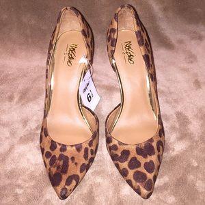 NWT Mossimo Sz 6.5 cheetah fabric upper 3.25@ heel